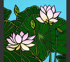"""Painting of a Lotus Flower by Hawaii artist Heather Brown is part three of the """"Hawaiian Botanicals"""" series. The Lotus Flower is a type of water lily which grow Heather Brown Art, Canvas Artwork, Canvas Prints, Lotus Art, Tropical Flowers, Lotus Flowers, Doodle Flowers, Hawaiian Art, Hanging Canvas"""