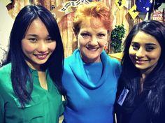 Australia's history challenge participants Lydia and Tamara pose with Pauline Hanson..