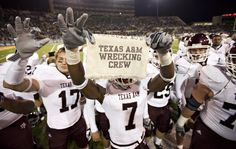 Texas A&M Wrecking Crew [photo credit dougklembara.com] RollTideWarEagle.com sports stories that inform and entertain, plus #collegefootball rules tutorial. Check out our blog and let us know what you think. #Aggies