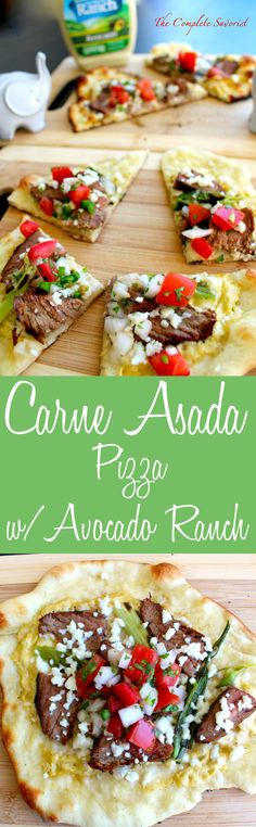 Carne Asada Pizza with Avocado Ranch ~ Grilled carne asada and green onions on a traditional pizza topped with queso fresco and pico de gallo in a creamy Avocado Ranch sauce. ~ The Complete Savorist @hvranch #WhatsYourRanch #Ad