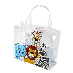 Small Zoo Animal Plastic Tote Bag (Bulk Pack of 12 Totes) at theBIGzoo.com