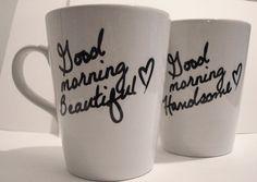 """Latte mug couple set of 2 Personalized mug set- """"Beautiful and Handsome"""" mug set perfect couple gift wedding gift, housewarming Gift."""