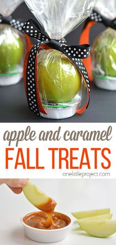 These apple and caramel fall treats are such a GREAT alternative to candy! They'd be fantastic for class parties or teachers gifts, or even fall birthday parties. I love how simple and pretty they are! Fall Birthday Parties, Halloween Birthday, Halloween Crafts, Church Nursery, Snack Recipes, Snacks, Fall Treats, Fun Desserts, Teacher Gifts
