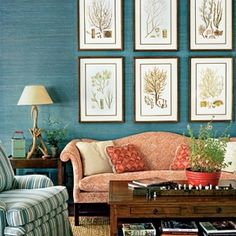 Beautiful use of prints over a bold colored wall