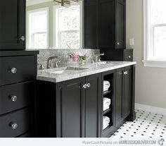 : Unique Tudor House Ensuite Transitional Bathroom Design Interior Decorated With Black Bathroom Vanity Cabinets Furniture Ideas Traditional Bathroom, Black Cabinets Bathroom, Diy House Renovations, Modern Bathroom, Black Cabinets, Bathroom Design, Bathroom Decor, Black Bathroom, Black Vanity Bathroom