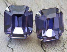 Tanzanite Post Earrings  Vintage Swarovski by GoingHoLLyWood, $19.00