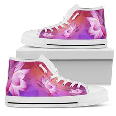 3c7185637042 Custom Women s High Tops Pink Lotus Shoes Womens High Top Sneakers Converse  Style
