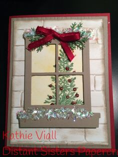 Room with a view by aloeviall - Cards and Paper Crafts at Splitcoaststampers Craftwork Cards Christmas, Chrismas Cards, Christmas Cards 2018, Xmas Cards, Diy Cards, Holiday Cards, Christmas Crafts, Christmas Trees, Window Cards
