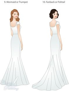 skirt types for modest wedding dresses, modeled by WeddingLDS.com's signature brides