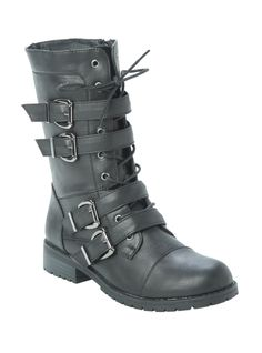 Black Four Buckle Strap Combat Boot | Hot Topic