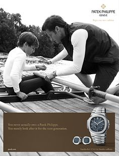 The uniqueness of family traditions are passed on from father to son, a relationship that is universal, timeless, solid, emotional and unique. So, Patek Philippe uses this special bond for its 'Generations' campaign, like for the Campaign men 2010 Nautilus Ref. 5712/1A.