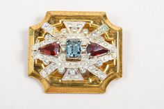 VINTAGE McClelland Barclay Gold Tone Red Blue Rhinestones Deco Pin Brooch #McClellandBarclay