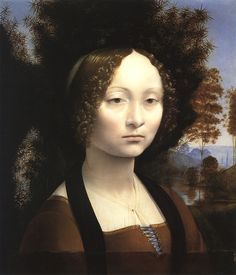 1474 Ginevra de' Benci by Leonardo Da Vinci. Notice the white sparkles in her eyes and on her curls. This perfect glint of luster hitting a smooth and shining surface was Leonardo's signature marks. - Walter Issacson