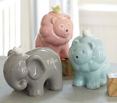 Ceramic Banks #PotteryBarnKids - love the blue lion and elephant for a baby boy.