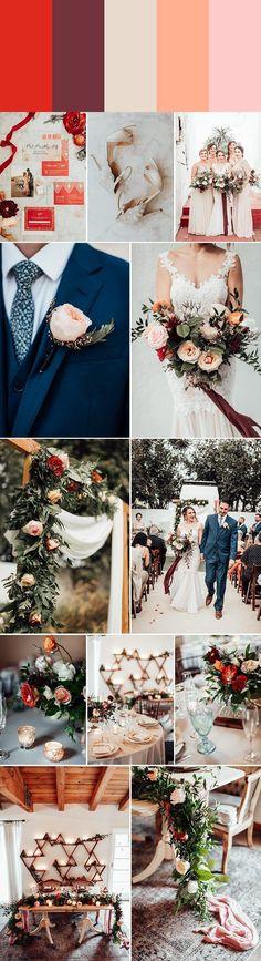Romantic wedding color palette: poppy + marsala + champagne + orange sorbet + petal pink   Images by Victoria Gold Photography #weddingcolorpalette #colorpalette #weddingcolors #weddingplanning #weddingtheme #weddingdecor #reception #ceremony #bride #groom #bridesmaid #romanticwedding #wedding #weddinginspiration #romanticweddings