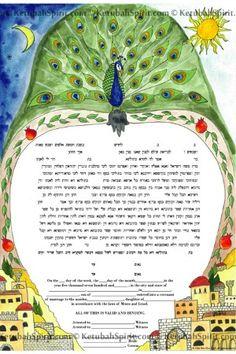 #Peacock Watercolor Ketubah by Ketubah Spirit - Mazelmoments.com