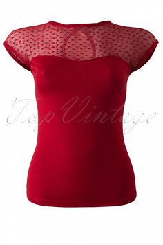 Steady Clothing - TopVintage exclusive ~ Miss Fancy Heart Top Red
