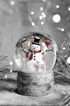 Christmas Snow Globes, Noel Christmas, Merry Little Christmas, Christmas Design, Outdoor Christmas, Christmas Photos, Winter Christmas, Winter Snow, Snowman Snow Globe