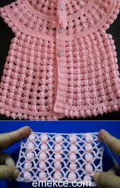 Bebek Yelek Modelleri See other ideas and pictures from the category menu…. Crochet Baby Dress Pattern, Baby Girl Crochet, Crochet Baby Clothes, Baby Knitting Patterns, Diy Crafts Knitting, Knitting For Kids, Hand Knitting, Crochet I Cord, Baby Boy Cardigan