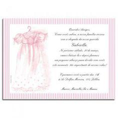 Convite Batizado Aquarela Vestido   Cartolina