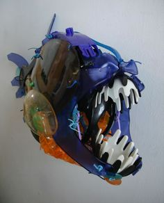 This sculpture of an Angler fish uses great emphasis on the teeth by making the recyclable plastic different colors.