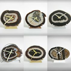 All these Earthtone lovelies are available and ready for their new homes!! Agate Desk Clocks!