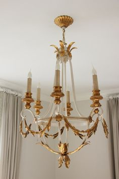 A gorgeous neo-classical style 6-light Empire chandelier from English company Bella Figura, in the ivory and gold finish. Made in Italy. Dimensions: 28