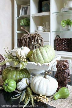Fall Green and whites!  My style of Background vignettes too :)