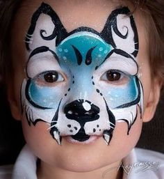 Anne-Marie Noble Maquillage de Loup Bleu by Anne-Marie-Noble-Art Face Painting Images, Animal Face Paintings, Face Painting For Boys, Face Painting Tutorials, Face Painting Designs, Animal Faces, Wolf Face Paint, Dog Face Paints, Kitty Face Paint