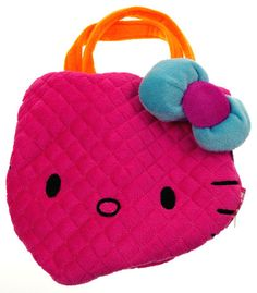 "Hello Kitty Pink Purse Sanrio 8"" Soft Plush Blue Bow Orange Yellow Girls Fashion - FUNsational Finds - 1"