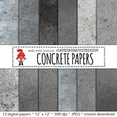 "New to SandraGraphicDesign on Etsy: Digital paper: ""CONCRETE PAPERS"" with grey digital papers with concrete textures (1093) (3.75 USD)"