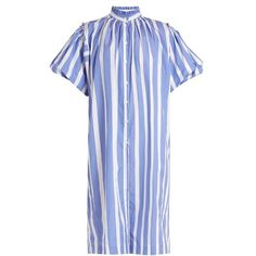 Thierry Colson Gloria striped cotton-poplin dress ($400) ❤ liked on Polyvore featuring dresses, blue stripe, striped dresses, balloon sleeve dress, high neck ruffle dress, high neckline dress and flouncy dress