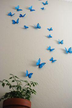 Cyan Wall Butterflies- Set of 20 - Bodenbelag Wohnzimmer Butterfly Bathroom, Butterfly Wall Art, Blue Butterfly, Diy Wall Art, Diy Wall Decor, Diy Butterfly Decorations, Chambre Indie, Deco Zen, Cute Room Decor