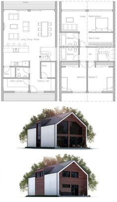 Small House, House Plan Modern House Plan to Modern Family. Modern Barn House, Modern House Plans, Small House Plans, Modern House Design, House Floor Plans, Casa Kaufmann, Container House Plans, Tiny House Cabin, House Blueprints