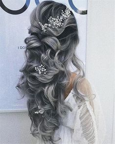 70+ Prom Hairstyles Trendy Inspiration For 2019 – Page 23 – Chic Cuties Blog Floral Wedding Hair, Half Up Wedding Hair, Curly Wedding Hair, Elegant Wedding Hair, Wedding Hair And Makeup, Bridal Hair, Wedding Dresses, Prom Hairstyles For Long Hair, Wedding Hairstyles For Long Hair