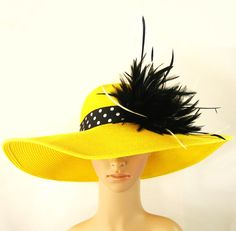 Derby Hat Tea Party Hat Wedding Hat Dress Hat Yellow Hat with Feathers Church Derby Hat Kentucky Derby Hat Wide Brim Hat Horse Race Ascot.via Etsy.