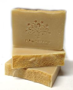 Oat Milk Lavender Artisan Soap topped with brown sugar.  Oat milk is homemade!
