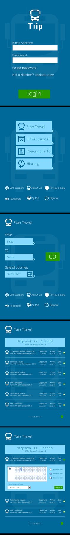MOBILE / TABLET APP - BUS TICKET BOOKING on Behance