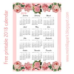 Free printable 2018 rose calendar – year at a glance   MeinLilaPark