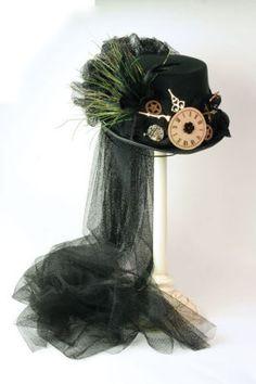 Black Tulle Steam Punk Hat