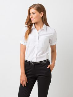The Women's Campbell Sleeve Shirt is a stylish and versatile uniform staple. The sleeve can be rolled & secured with the sleeve tab offering a contemporary short sleeve shirt option. Security Uniforms, Corporate Uniforms, Suits For Women, Clothes For Women, Skirt And Sneakers, Corporate Fashion, Work Uniforms, Uniform Design, Work Fashion