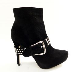 Spiked Heel Black Suede Ankle Boots with Square Silver Studded Belt and a Big Silver Buckle.