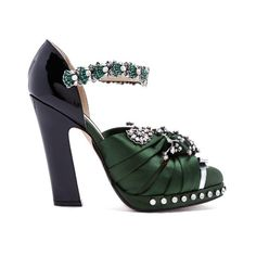 Crystal-embellished satin and leather pumps No. 21 MATCHESFASHION.COM ($704) ❤ liked on Polyvore featuring shoes, pumps, heels, black green, floral pumps, black shoes, clear pumps, satin pumps and black satin pumps