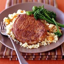 Moroccan Spiced Pork Chops with Apricot Couscous