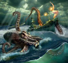 El Kraken by oscargrafias on DeviantArt Fantasy Creatures, Mythical Creatures, Sea Creatures, Davy Jones, Goblin, Kraken Art, Kraken Tattoo, Daddy Tattoos, Shark Tattoos