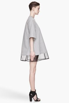 #MAISON #MARTIN #MARGIELA Heather Grey black slip Dress
