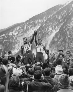 1968 Olympics, Grenoble, France. French skiers Jean-Claude Killy (gold) and Guy Perillat (silver), men's downhill medalists.