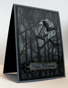 This card actually looks creepy and eerie - in a fantastic way!  Spook your friends with this great handmade Halloween Card.