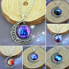 This crescent moon pendant necklace with galactic pattern is perfect for everyday wear. Glass Cabochon Diameter: 20mm (Approx.) Material: Alloy/Glass Cabochon
