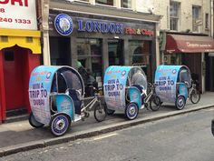 Rickshaws outside London Fish and Chips